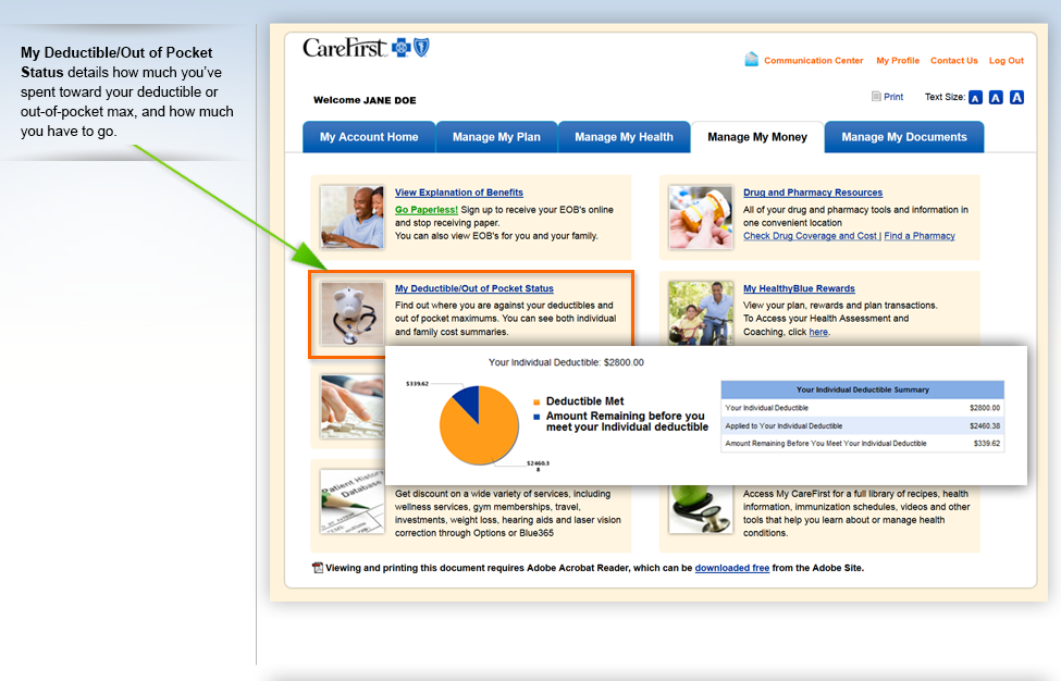 carefirst my account feature tour
