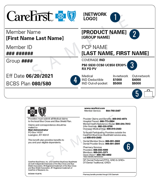 Member Id Card Carefirst Bluecross Blueshield